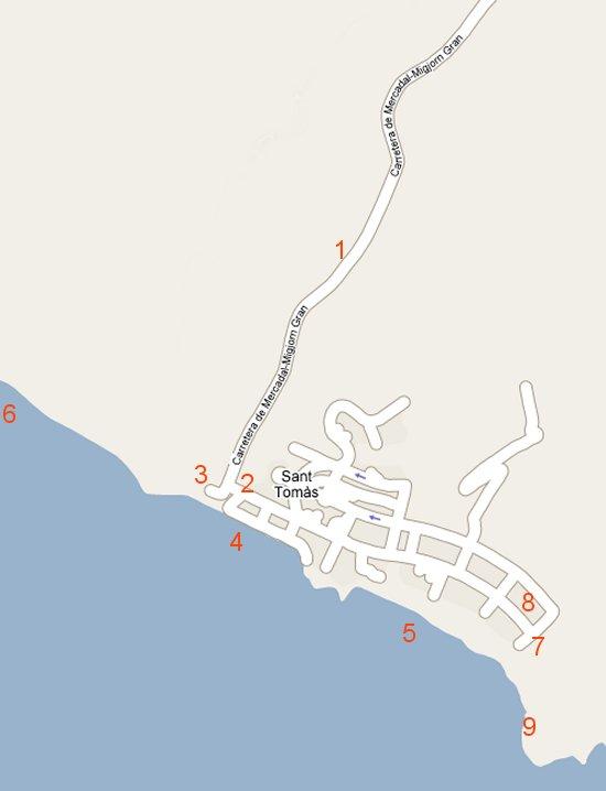 Mapa de acceso a la urbanización de Santo Tomas y las playas de San Adeodato y Binigaus en Es Migjorn Gran