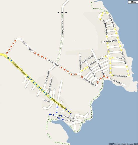 Papa de acceso a Cala Aklacufar y la Urbanizacion de salgar, desde Sant Lluis indicando los dos circuitos