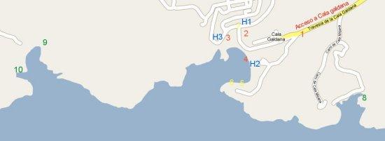 Mapa detallado de acceso a Cala Galdana y las playas virgenes de Cala Mitjana y Mitjaneta o a Cala Macarella y Macarelleta en la costa sur de Menorca Islas Baleares