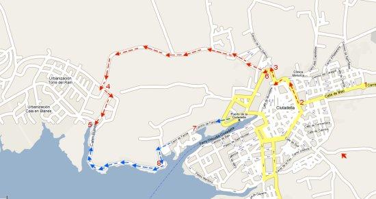 Mapa del área de Ciudadela, incluye los dos itinerarios de acceso a calan Blanes y las urbanizaciones de Los delfines, Torre del Ram, Calan Brut, calan Forcat en el Poniente de Menorca