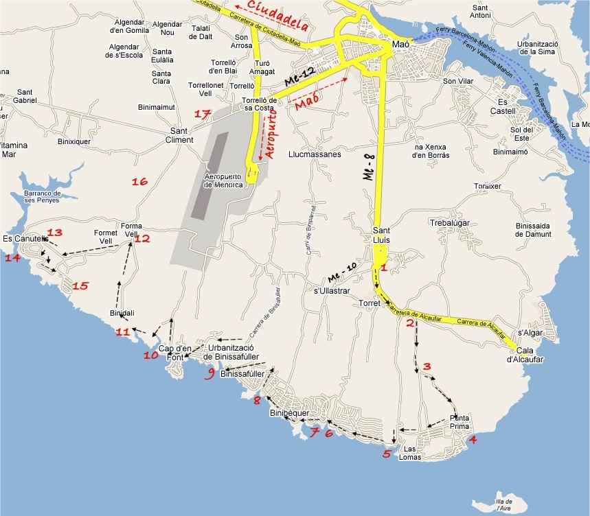 Itinerarios por Menorca costa Sur de San Luis playas Binibeca