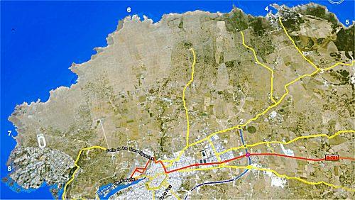 Mapa de carreteras para indicar los itinerarios de la costa norte de Ciudadela, visitando el área urbana de cala Morell y el área virgen de la Vall, playas de Algaiarens y Es Bot.