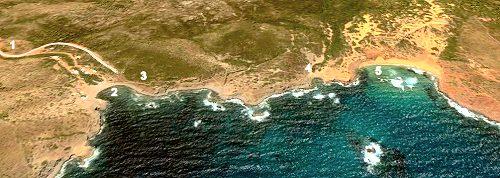 Mapa de Menorca costa norte, area de de Ets Alocs, Playa de Cala Pilar y Sa Bombarda