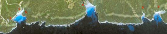Mapa de acceso a las playas virgenes de Trabaluger Fustan y Escorxada por la carretera de Ferreries cala Galdana