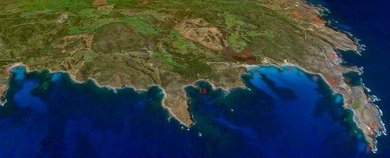 Mapa de la costa de Menorca area del Parque Natural de la Albufera Des Grao Vista desde cala Tortuga, Cala presili, el Cabo de Favaritx