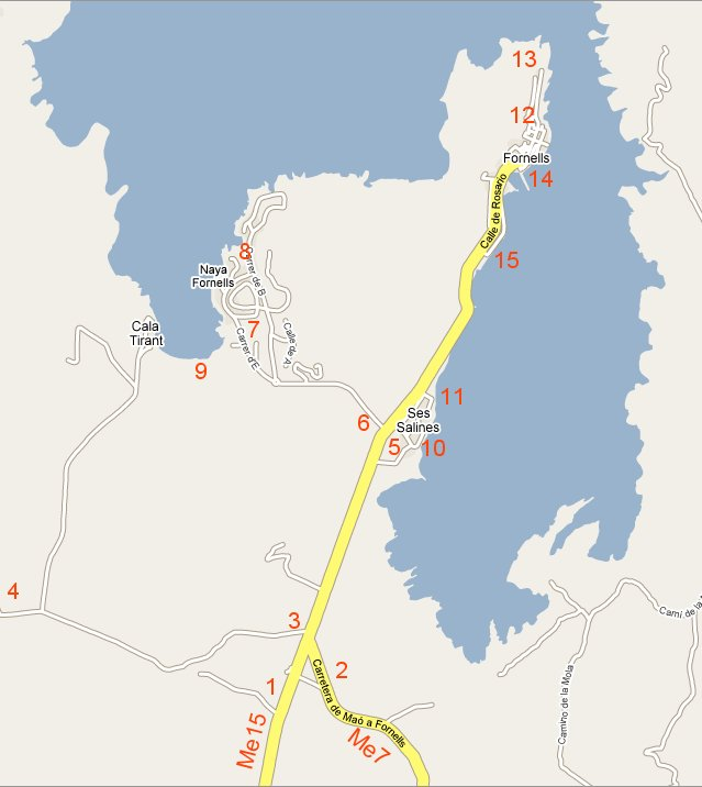 Mapa de Fornells, y area de influencia, Ses Salinas, Cala tiral, Playas de fornells y la bahia de Fornells