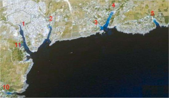 Mapa de la zona sur de Ciutadella área de las playas de poniente y las urbanizaciones turísticas del sur Calan Bosch y Son Xoriguer