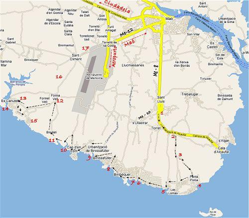 Mapa del área de poniente y sur de la isla de Menorca, desde cala San Esteban asta cala Es Canutells, despliegue de los puntos mas importantes, Binisafuller o Binissafuller Punta prima Binibeca Isla del Aire