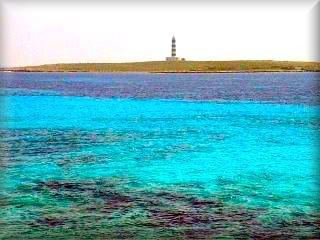 Faro de la Isla del Aire, su aislamiento ha provocado una especie de lagartijas negras únicas en Baleares se encuentra frente a la Playa de Punta prima y se hacen excursiones en barco