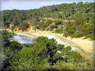 La cala escorxada es la mas distante de las playas virgenes, es por esto que muchos de sus vistas se realizan por barcos desde el mar
