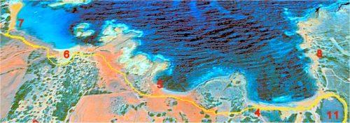 Mapas de Menorca. area de Cala  Cavalleria, ruta de acceso asta el aparcamiento y sendero asta la Playa de Binimel la, Cala Pregonda noerte de Ciudadela Menorca