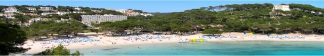 vista panoramica de la ermosa playa de Cala galdana vista desde el islote